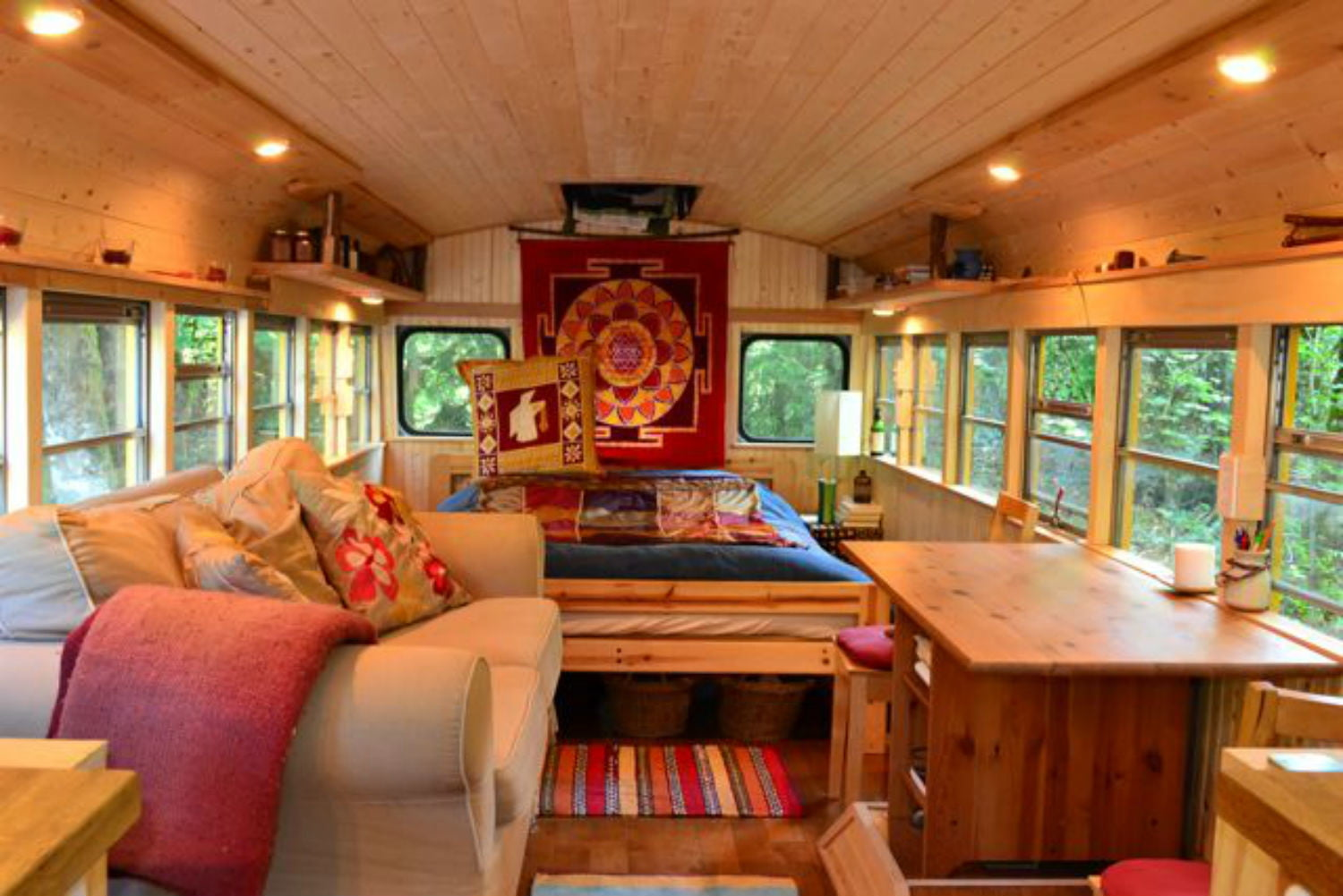 coolest bus to mobile home conversions yellowbus2