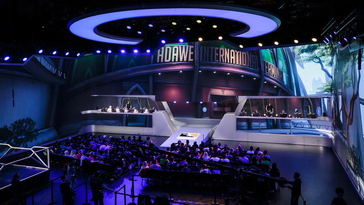 A live Overwatch League event in an arena.