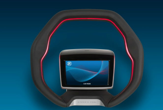 gesture-controlled steering wheel with touch screen