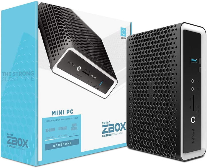 The Zotac Zbox, both in and out of packaging.